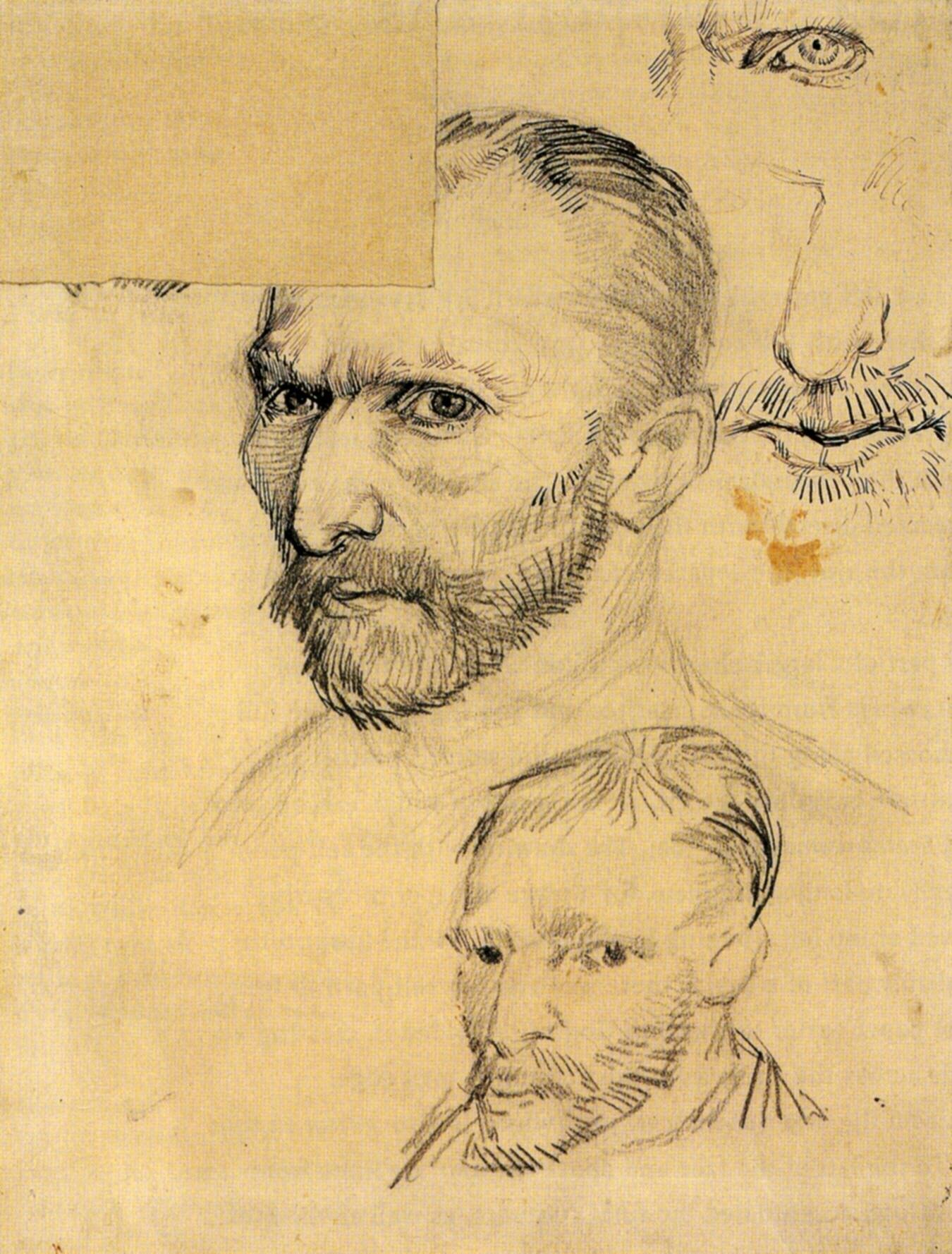 two self portraits and several details 1886   vincent van