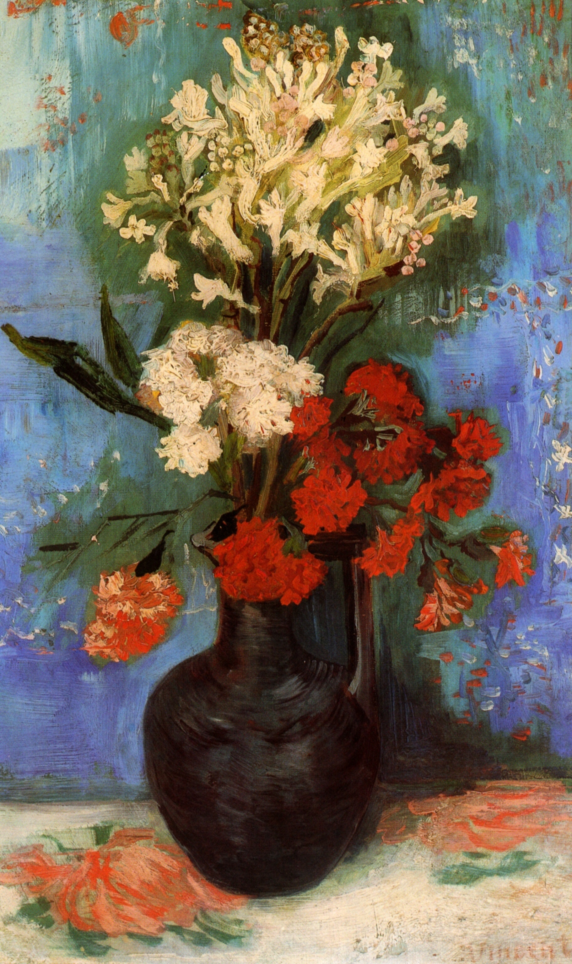 Vase with Carnations and Other Flowers van Gogh Vincent WikiArt