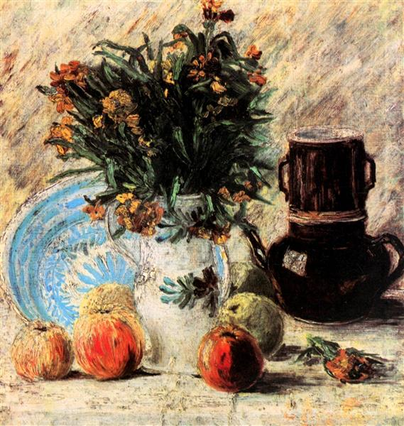 Vase With Flowers Coffeepot And Fruit 1887 Vincent Van Gogh