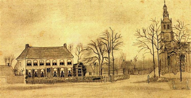 Vicarage and Church at Etten, 1876 - Vincent van Gogh