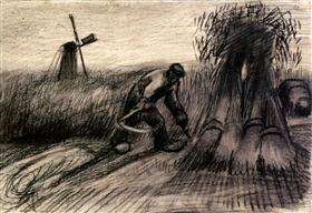 Wheatfield con el segador y Mujer campesina Encuadernación gavillas, Vincent van Gogh