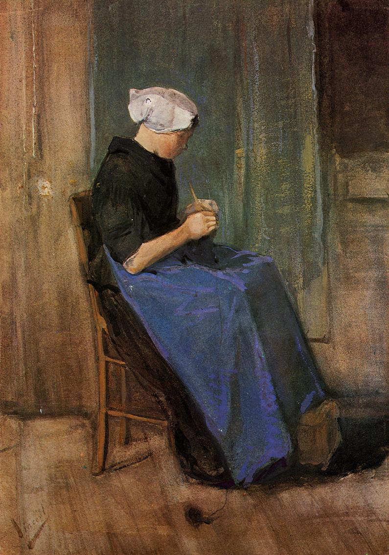 Young woman knitting, 1881