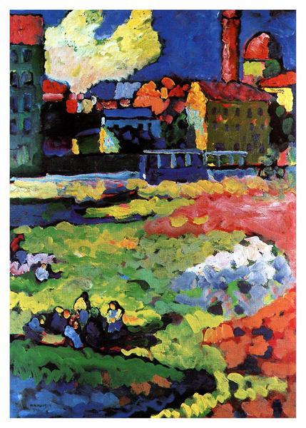 Munich-Schwabing with the church of St. Ursula, 1908 - Wassily Kandinsky