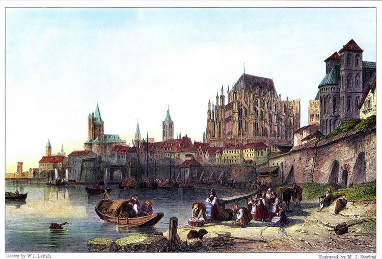 The City of Cologne, engraved by M.J. Starling after Leitch, 1850 - William Leighton Leitch