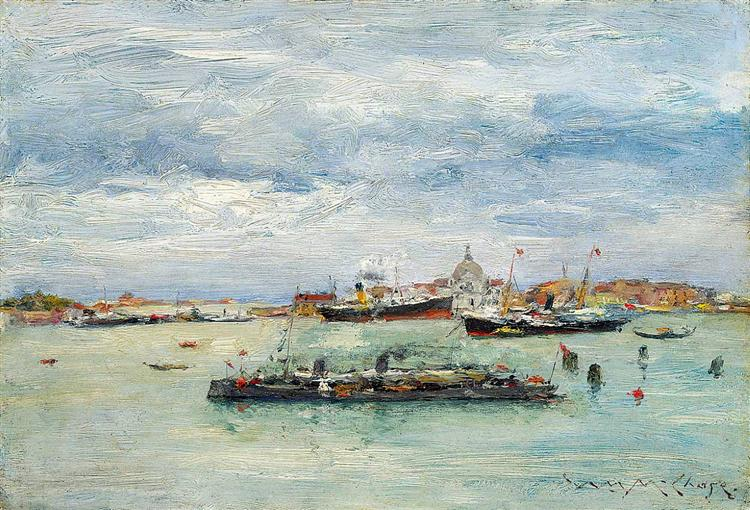Gray Day on the Lagoon (A Passenger Boat — Venice), 1913 - William Merritt Chase