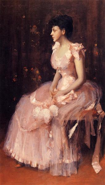 Portrait of a Lady in Pink (aka Lady in Pink Portrait of Mrs. Leslie Cotton), c.1888 - c.1889 - William Merritt Chase