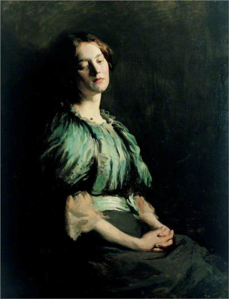Portrait of a Girl Wearing a Green Dress, 1899 - William Orpen