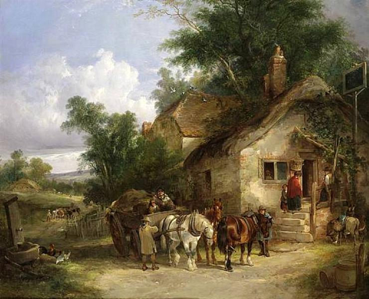 A Halt at the Inn - William Shayer
