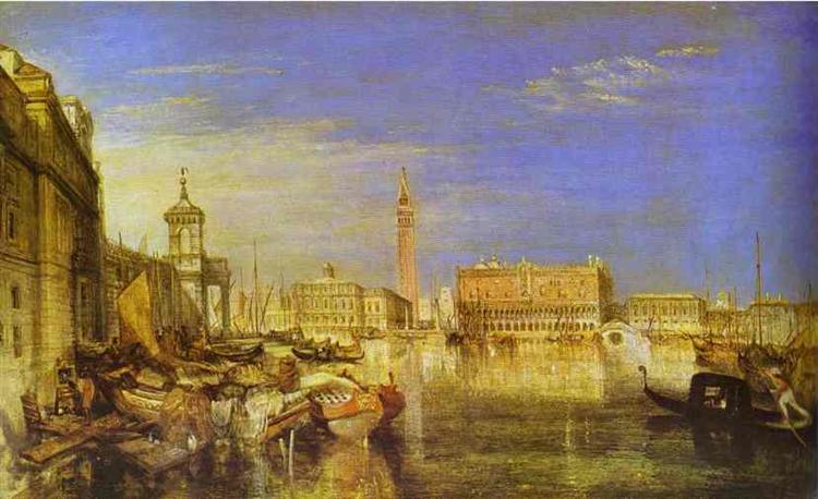 Bridge of Sighs, Ducal Palace and Custom House, Venice Canaletti Painting, 1833 - William Turner