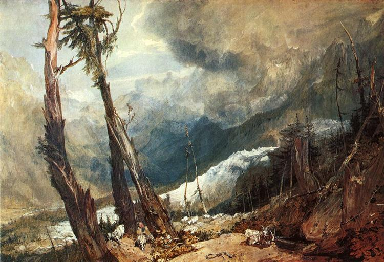 Glacier and Source of the Arveron, Going Up to the Mer de Glace, 1803 - J.M.W. Turner
