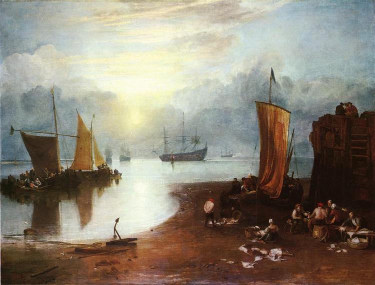 Sun Rising through Vagour Fishermen Cleaning and Sellilng Fish, 1807 - J.M.W. Turner