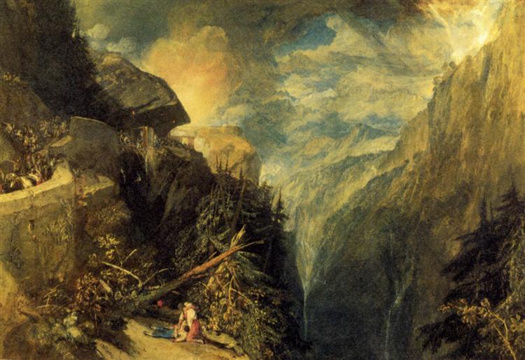 The Battle of Fort Rock, Val d'Aoste, Piedmont, 1815 - J.M.W. Turner