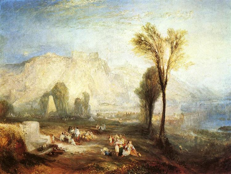 The Bright Stone of Honour (Ehrenbreitstein) and the Tomb of Marceau, from Byron's 'Childe Harold', 1835 - J.M.W. Turner